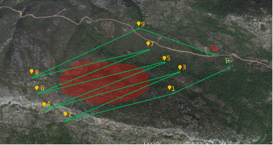 Touch Screen input of the UAV Flight Pattern over a Forest Fire